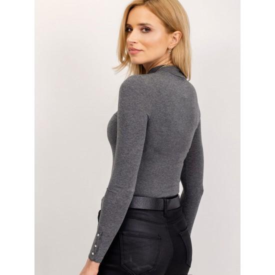 Дамска елегантна блуза с дълъг ръкав в тъмно сив цвят Rue Paris  | Дамски Дрехи | Блузи | Brando.bg