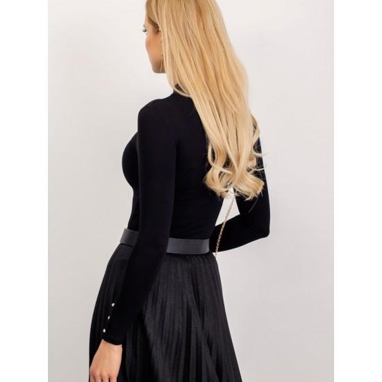 Дамска елегантна блуза с дълъг ръкав в черен цвят Rue Paris  | Дамски Дрехи | Блузи | Brando.bg