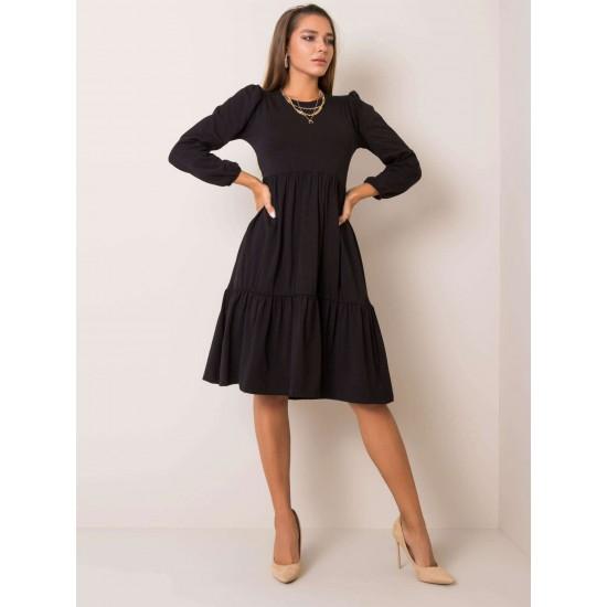 Ежедневна рокля под коляното в черен цвят Rue Paris | Ежедневни Къси Рокли Онлайн - Brando.bg