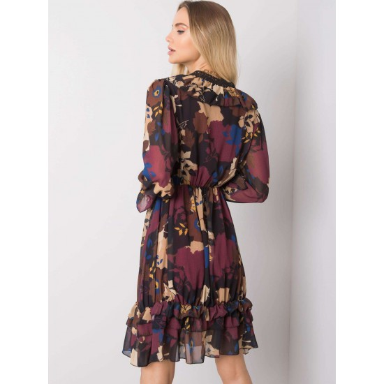 Ежедневна къса рокля в цвят бордо | Ежедневни Къси Рокли Онлайн - Brando.bg