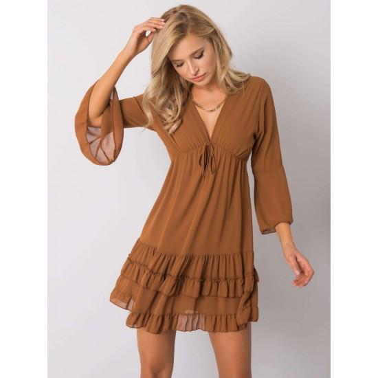 Ежедневна къса рокля в светло кафяв цвят | Ежедневни Къси Рокли Онлайн - Brando.bg