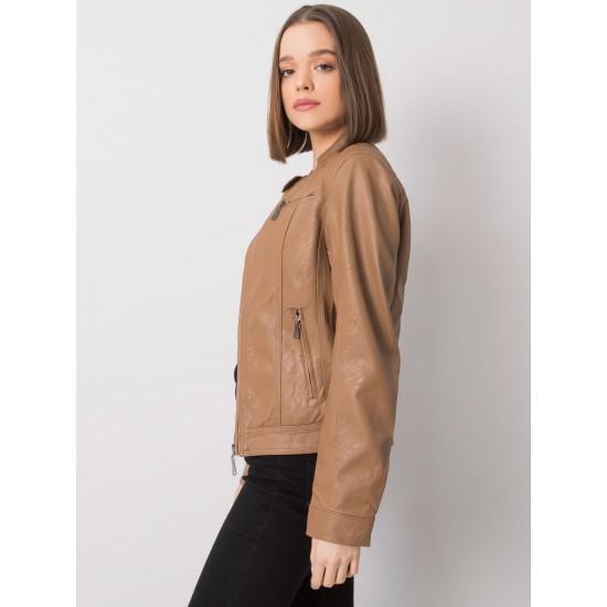 Дамско кожено яке в цвят камел | Дамски Връхни Дрехи | Brando.bg