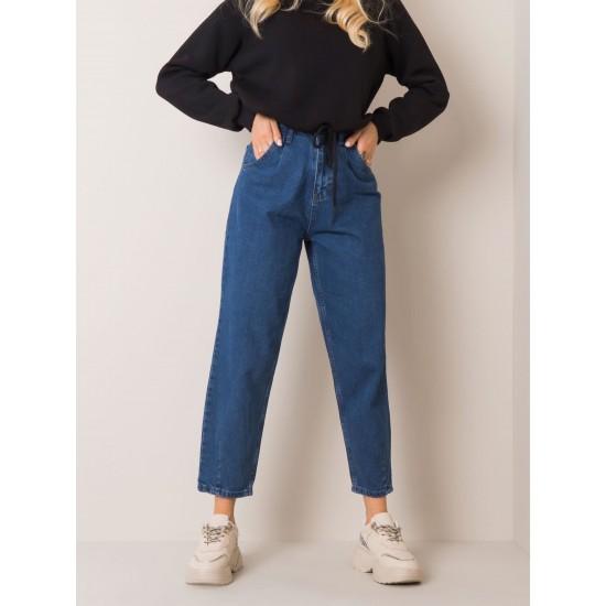Дамски дънки с висока талия в тъмно син цвят Rue Paris   Дрехи за жени на ниски цени   Дамски Дънки - Brando.bg