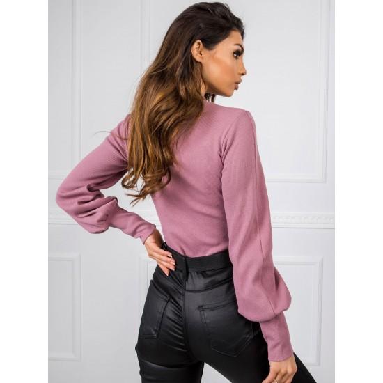 Дамска елегантна блуза с дълъг ръкав в розово | Дамски елегантни блузи | Brando.bg