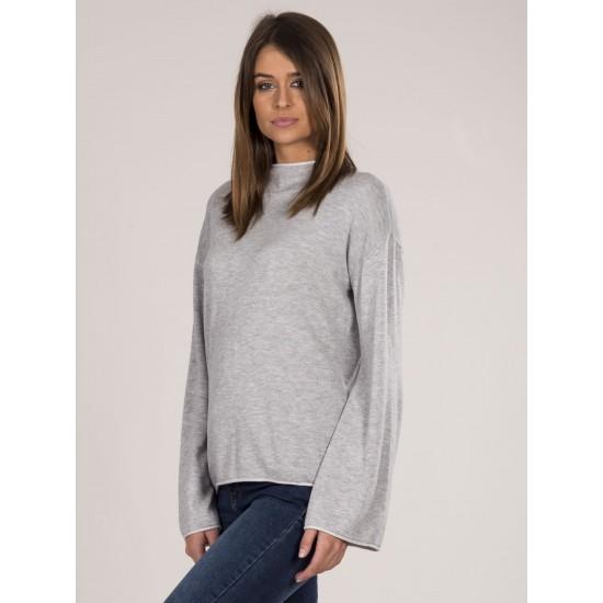 Дамски дълъг пуловер в сив цвят | Дрехи За Жени | Пуловери За Жени Brando.bg