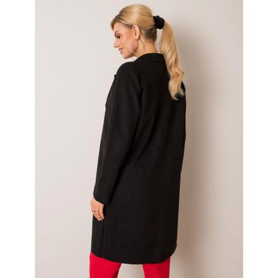 Дамско дълго велурено палто в черен цвят Stitch & Soul   Връхни Дрехи За Жени   Палта За Жени Brando.bg