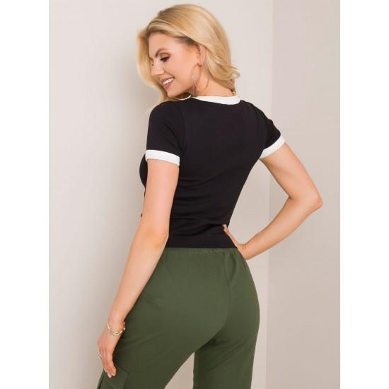 Дамска ретро тениска в черен цвят Rue Paris | Дамски тениски на ниски цени | Дрехи за жени | Brando.bg